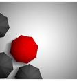 red umbrella on a background of black umbrellas vector image