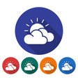 round icon of sun with clouds partly cloudy vector image vector image