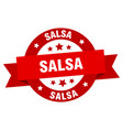 salsa ribbon salsa round red sign salsa vector image vector image