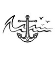 sea anchor and seagulls vector image
