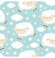 seamless pattern jumping sheep cloud star vector image vector image
