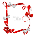 Shiny red ribbon on white background with copy vector image