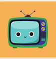 smiling cute of an old tv set with a vector image vector image