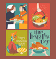 sset thanksgiving card with turkey and harvest vector image vector image