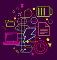 Symbols of energy spending and battery charging on vector image vector image
