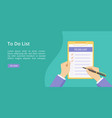 todo list hands on clipboard green landing page vector image
