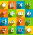 travel icons with long shadow vector image