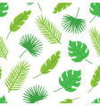 tropical leaves seamless pattern on white vector image vector image