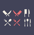 vintage kitchen set set meat cutting knive vector image