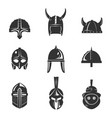 warrior helmet flat icon set vector image vector image