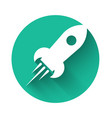 white rocket ship with fire icon isolated with vector image vector image