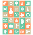 White Silhouette Wedding Icons vector image vector image
