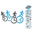 Men Running Over Clocks Flat Icon With vector image