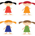 set of simple flat design girls in dresses vector image