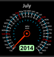 2014 year calendar speedometer car in July vector image vector image