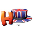 A letter H for hat vector image vector image