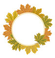 autumn leaves circle frame background colourful vector image vector image