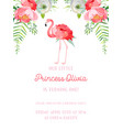 baby birthday invitation card with flamingo vector image vector image
