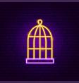 bird cage neon sign vector image vector image