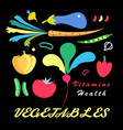 bright set vegetables vector image vector image