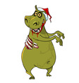cartoon funny hippo zombie in santa hat vector image vector image