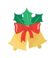 Christmas bells with a red ribbon and Holly leaves vector image vector image
