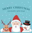 christmas card of santa claus reindeer and snow b vector image vector image