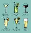cocktails drinks and glasses hand sketched vector image