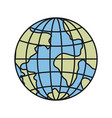colorful silhouette front view globe earth world vector image vector image