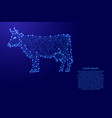 cow standing from futuristic polygonal blue lines vector image vector image