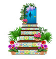 decor in the form of a blue wooden door and steps vector image vector image