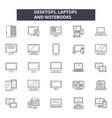 desktop laptops notebooks line icons signs vector image vector image