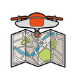 drone flying technology with paper map vector image vector image