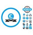 Euro Award Ribbon Flat Icon with Bonus vector image vector image