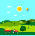 field nature cartoon with trees and tractor sunny vector image vector image