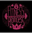 fitness princess hand drawn circle vector image vector image