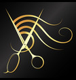 gold scissors and curl hair design for beauty vector image vector image