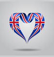 great britain flag heart-shaped ribbon vector image vector image