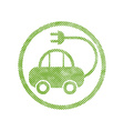 Green ecological electric car sign with pixel vector image vector image