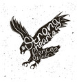 handdrawn typographic poster with flying eagle vector image