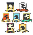horse shield emblem set vector image