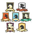 horse shield emblem set vector image vector image