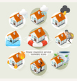 House insurance business service isometric icons vector image vector image