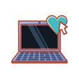 laptop with heart and cursor vector image vector image