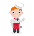 little boy in cook uniform with ladle vector image vector image