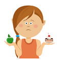 little girl choosing between apple and sweets vector image