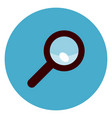 magnifying glass icon on round blue background vector image