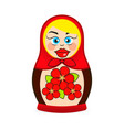 matryoshka doll dressed in a sarafan with flower vector image