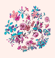 Meadow flower and leaf wreath isolated on pink vector image vector image