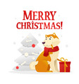 merry christmas postcard template with the cute vector image
